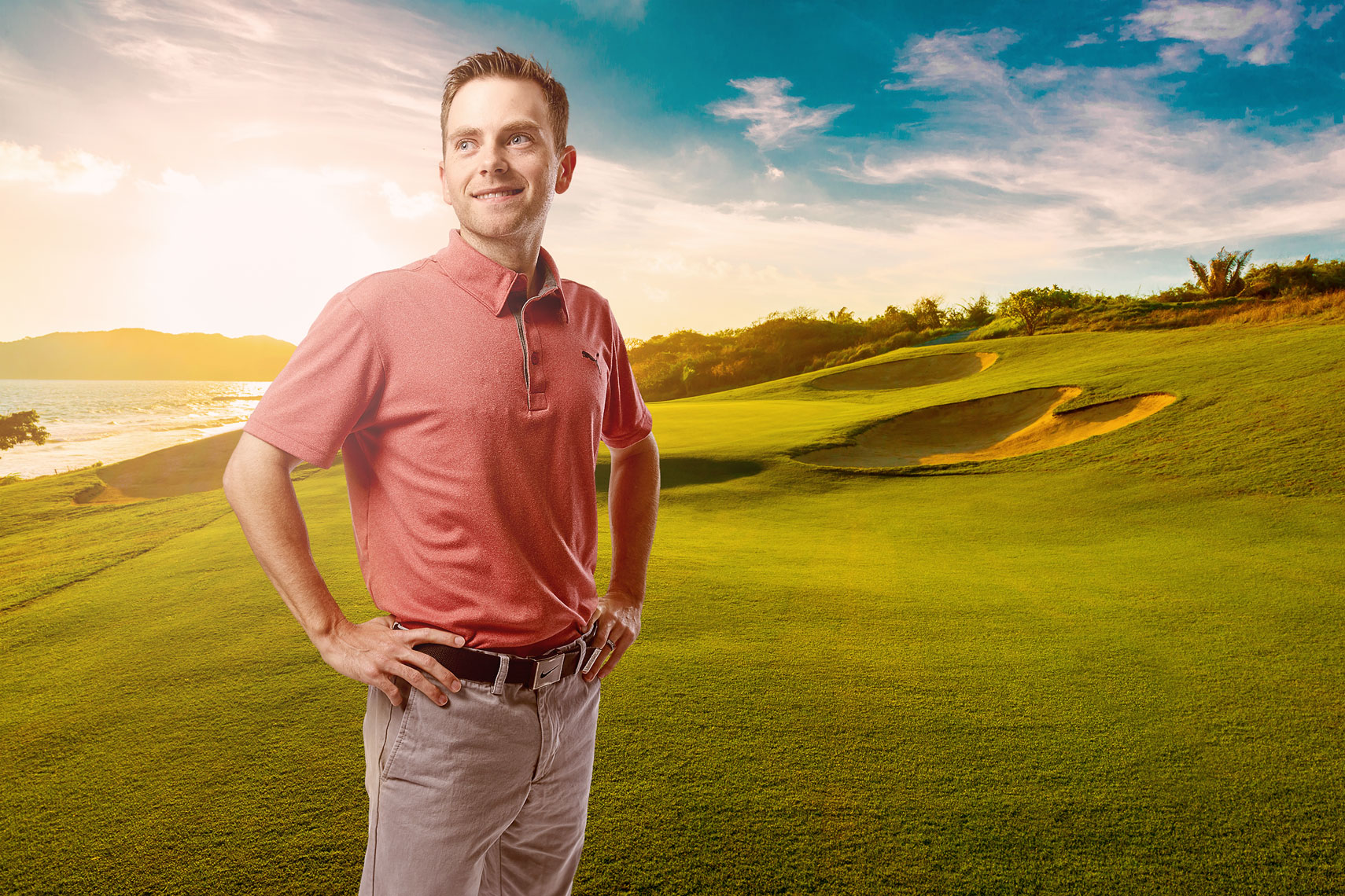 Man on golf course/backlit/pink shirt/lifestyle photography