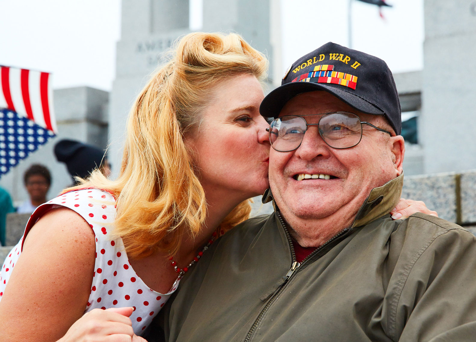 WW2 Vet/kissed/female/Honor Flight/Wash D.C.