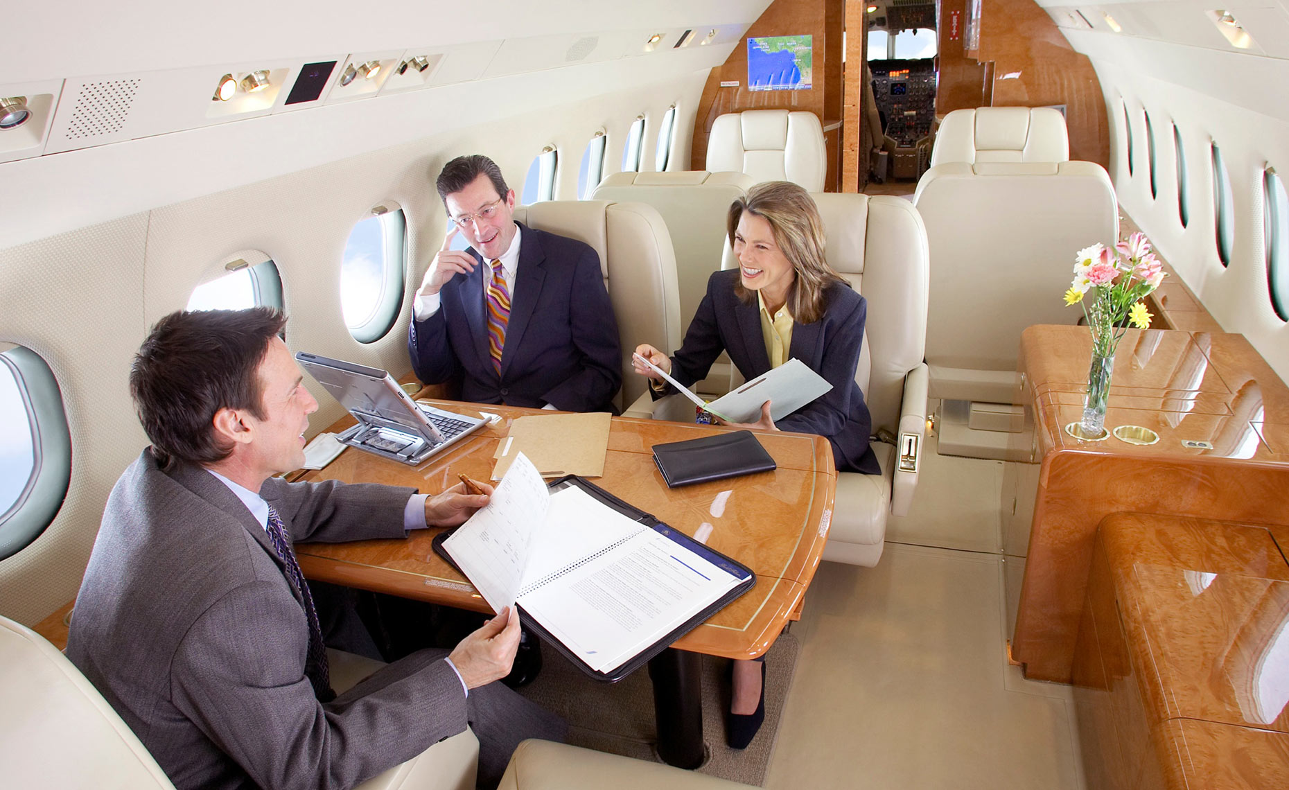JetChoise/execs/interior of luxurious private jet/lifestyle photography