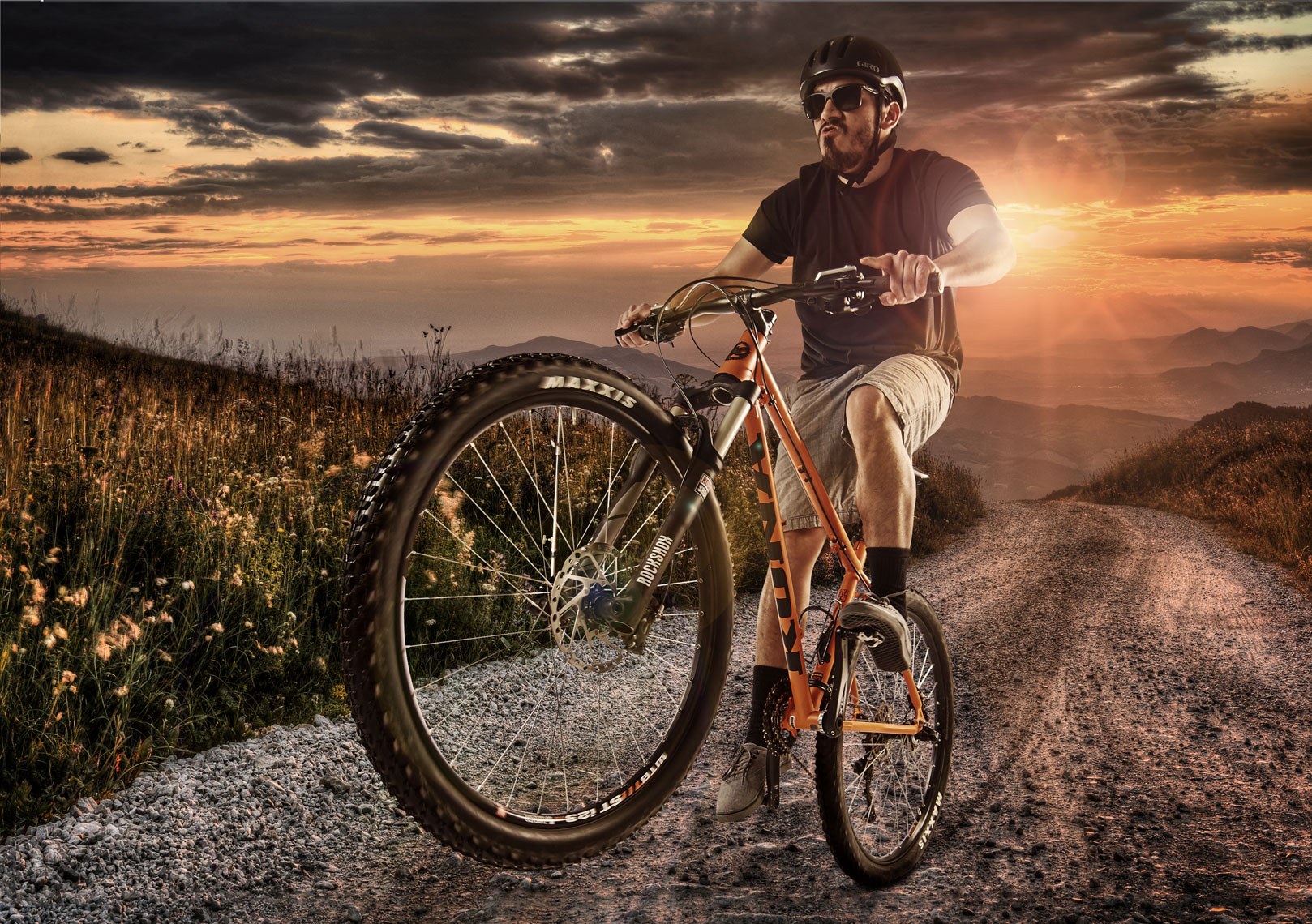 Mountain bike wheelie/sunset/location photography