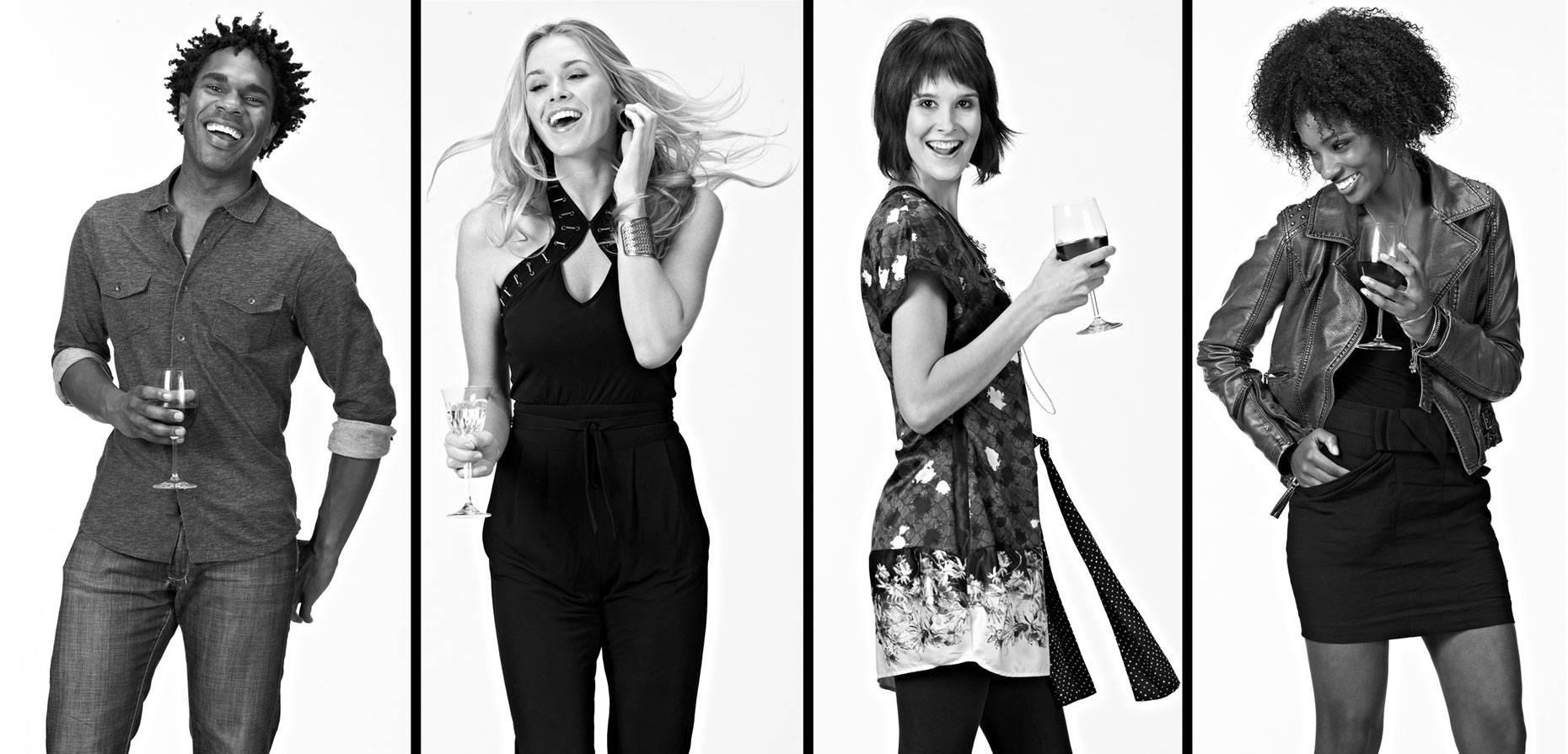 Models/cocktails/b&w/white background/lifestyle photo