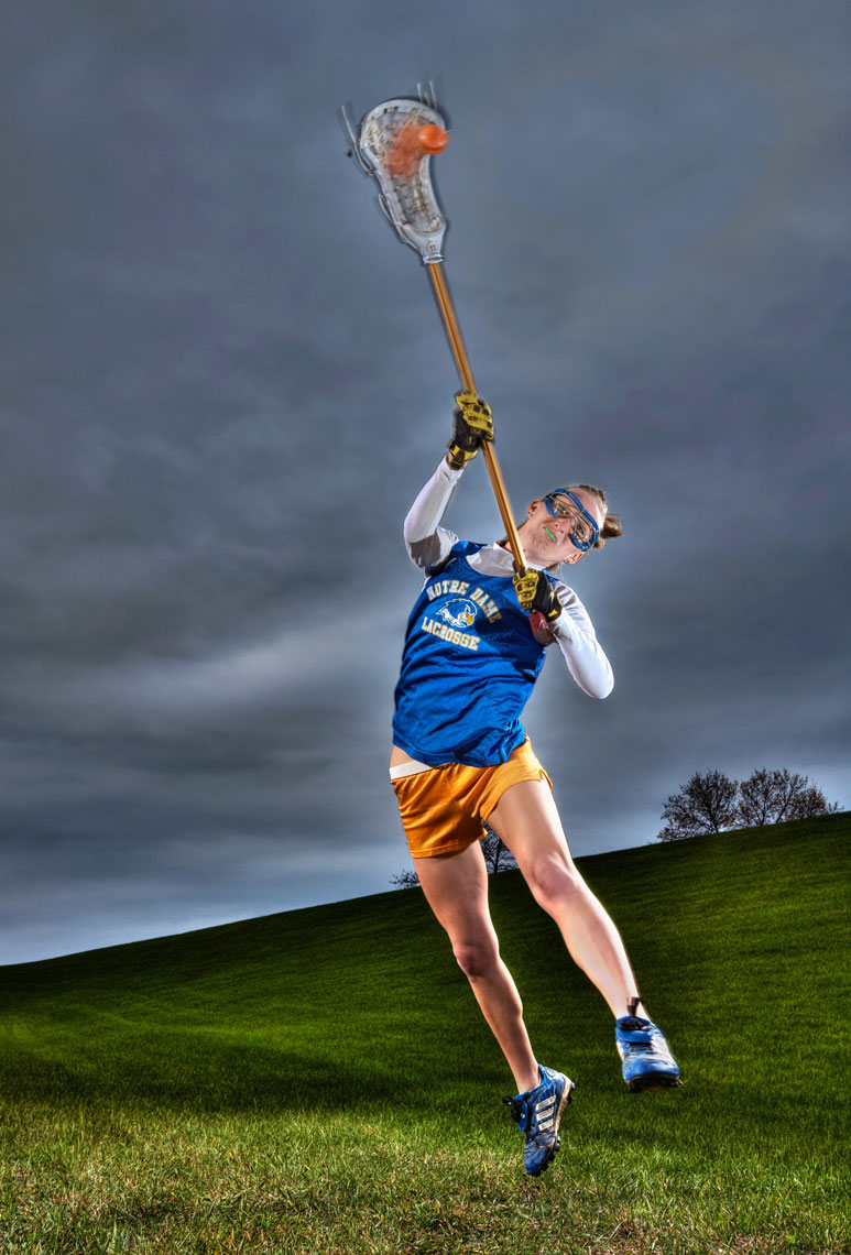 Lacrosse woman/Jumping/dark ominous sky/lifestyle people photography