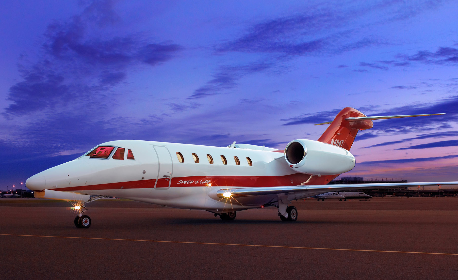 Target Jet/sunset /white with red stripe/aviation photography