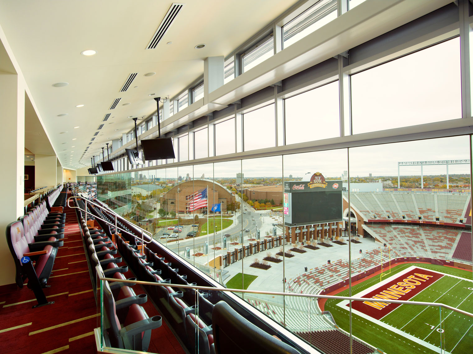 TCF Stadium/Suite level/south endzone/architectural photo