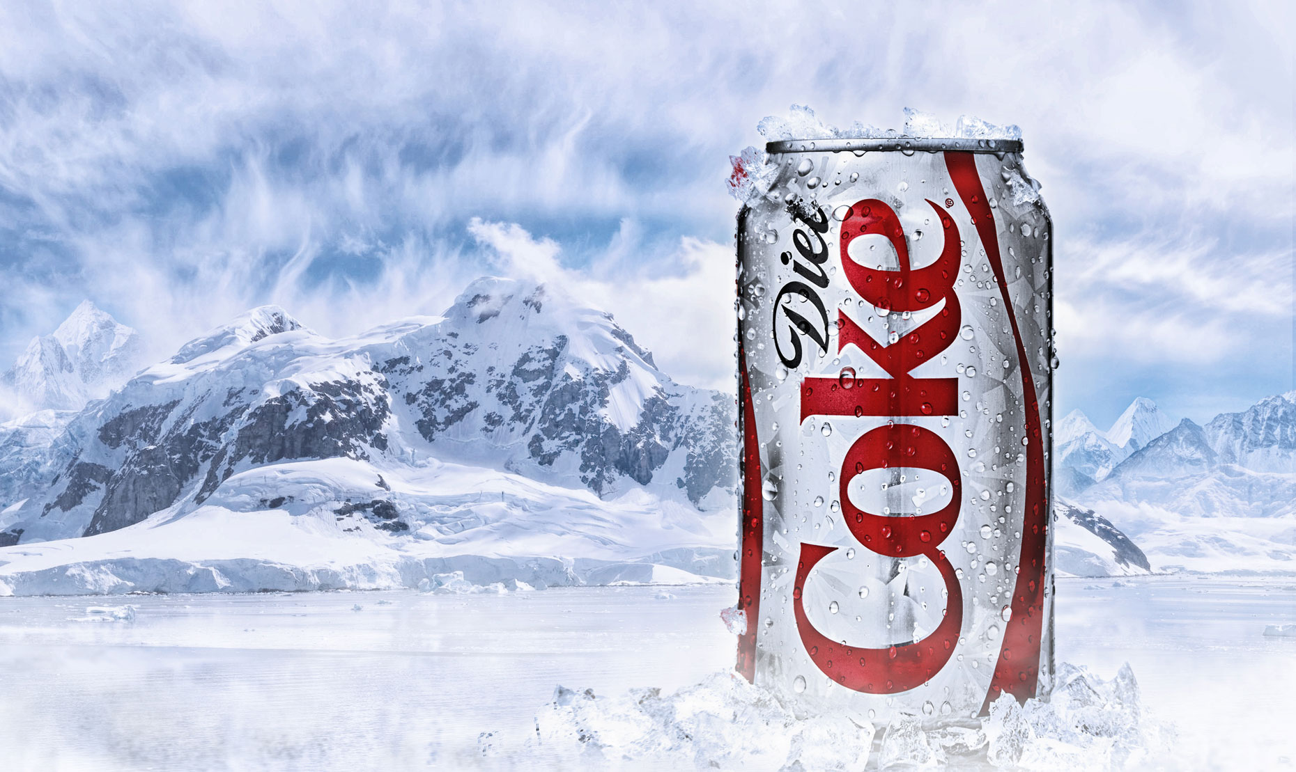 Diet Coke can in glacier ice/food photography